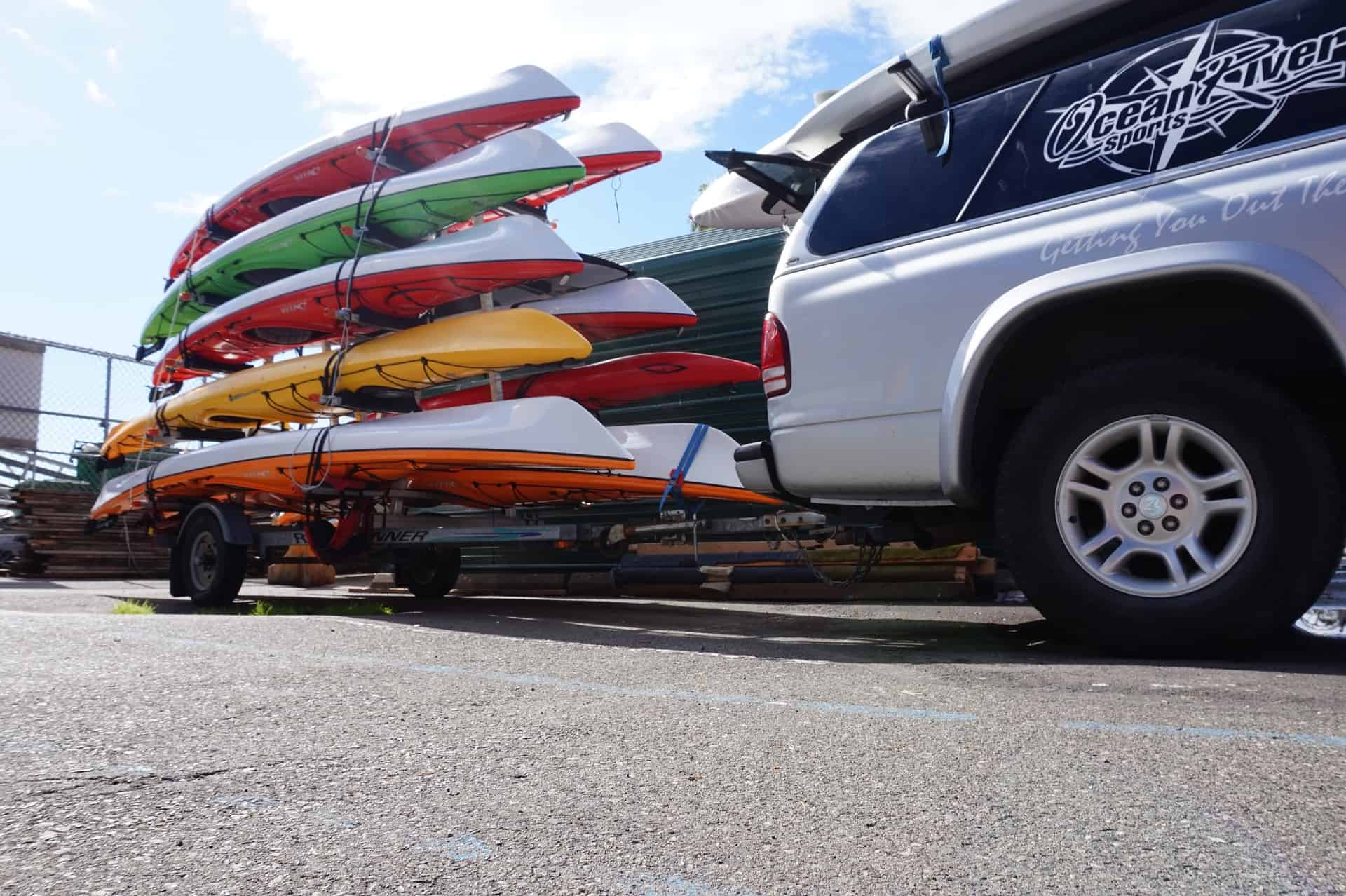 Kayak trailer laden