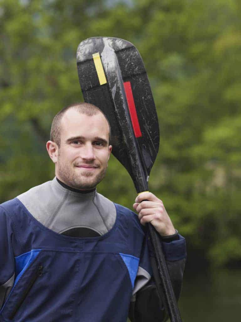 kayaker holding a paddle